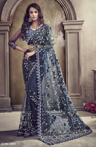 Blue Net Party Wear Saree With Blue Blouse