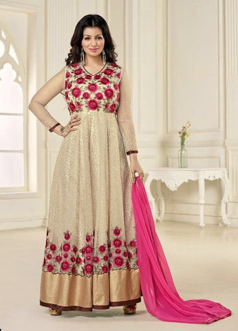 Beige,Georgette,Heavy designer party wear suits