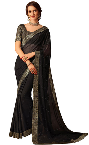 Black Chiffon Party Wear  Saree With Blouse