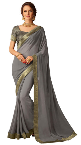 Grey Chiffon Party Wear  Saree With Blouse
