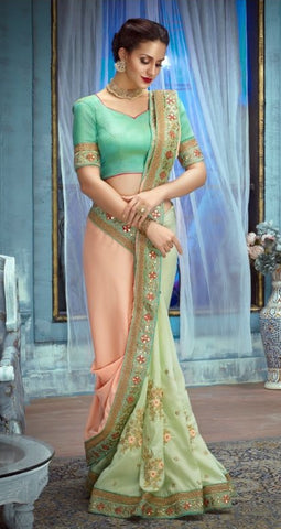 Green Peach Silk Party Wear Saree With Green Blouse