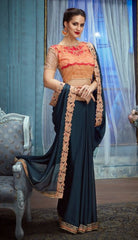 Blue Georgette Party Wear Saree With Orange Blouse