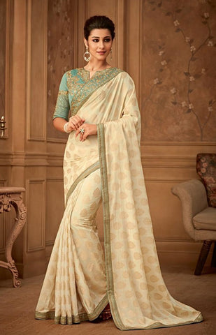 Beige Banarsi Silk Party Wear Saree With Sky Blue Blouse