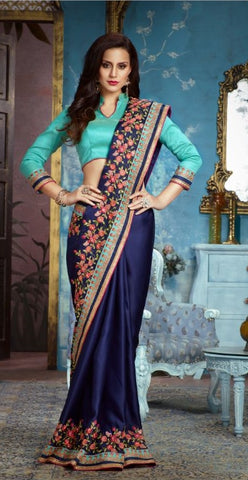 Blue Silk Party Wear Saree With Aqua Blue Blouse