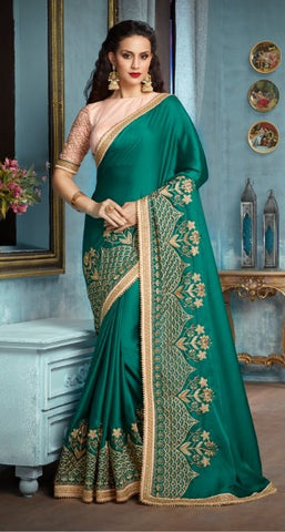 Green Silk Party Wear Saree With Peach Blouse