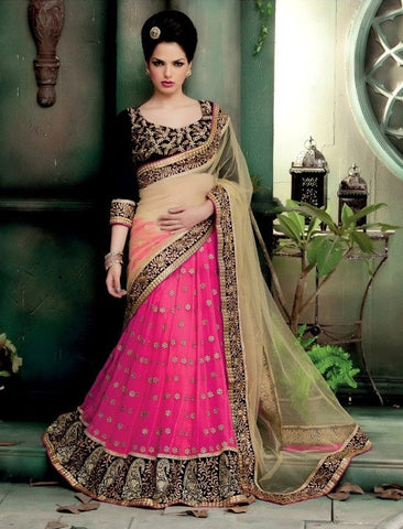 Saree Pink  , Beige,Net , Georgette