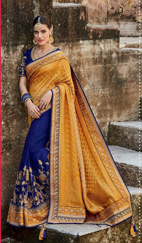 Yellow , Blue,Jacquard silk,Heavy designer party wear saree