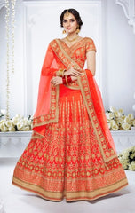 Orange Color Bridal Lehenga With Heavy Embroidery With Choli And Dupatta