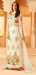 White Net Party Wear Suit With  Dupatta