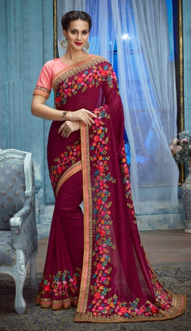 Maroon Silk Party Wear Saree With Peach Blouse