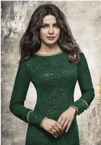 Green Georgette Straight Embroidered Suit With Dupatta