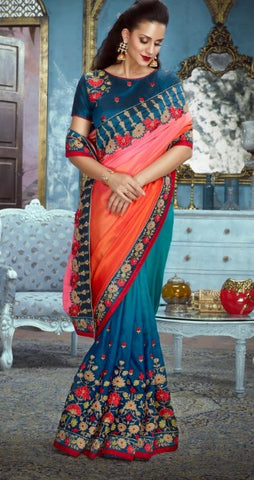 Red Blue Silk Party Wear Saree With Blue Blouse