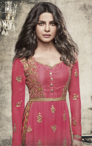 Georgette Pink with Golden Embroidery Suit With Dupatta