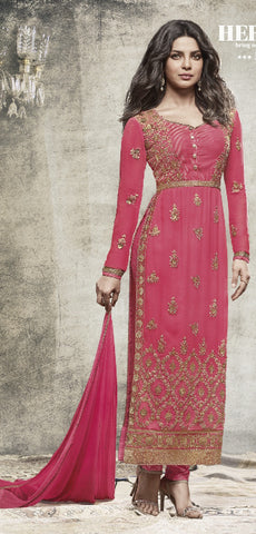 Pink,Georgette ,Straight party wear suits