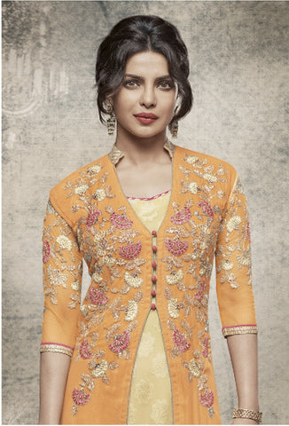 Yellowish Beige Color Suit with Dupatta