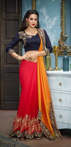 Red Yellow Georgette Party Wear Saree With Blue Blouse