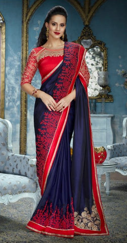 Blue Silk Party Wear Saree With Red Blouse