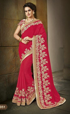 Saree Red , beige,Crepe chiffon