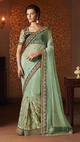 Saree Blue,Net