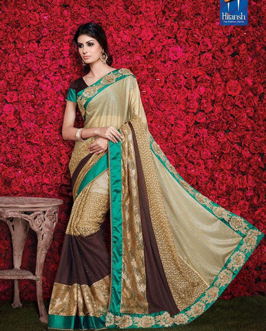 Beige   ,Georgette,Party wear designer saree