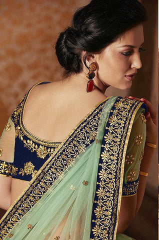 Cyan and blue embroidered saree of net with hand work