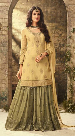 Yellow Georgette Sharara Suit With  Dupatta