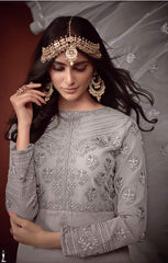 Grey Georgette Straight Salwar Suit With  Dupatta