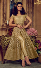 Golden Net Anarkali Suit With Dupatta