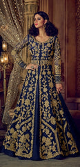 Blue Net Anarkali Suit With Dupatta
