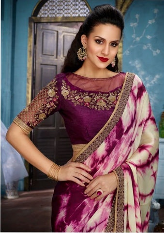 Purple Satin Party Wear Saree With Purple Blouse