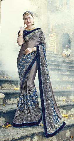 Grey Georgette Satin Saree With Blouse