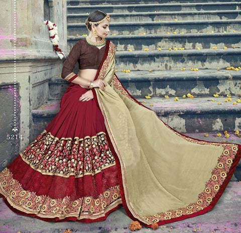 Red & Beige Satin Saree With Brown Blouse