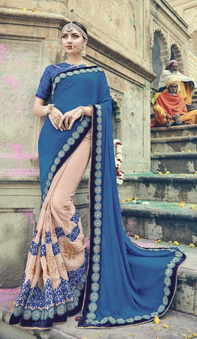 Blue Georgette Saree With Blue Blouse