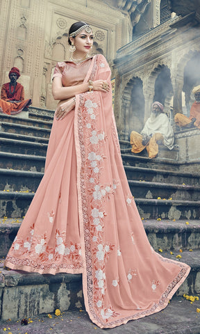 Peach Designer Saree With Peach Blouse