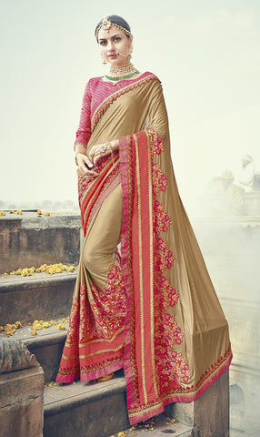 Beige & Peach Satin Saree With Peach Blouse