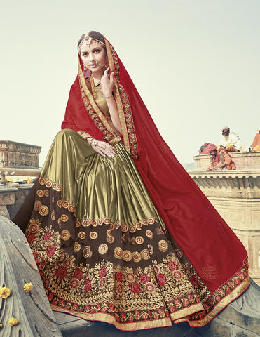 Red & Golden Designer Saree With Golden Blouse