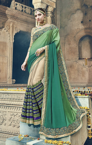 Green & Beige Georgette Saree With Beige Blouse