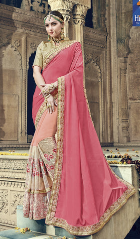 Pink & Peach Satin Georgette Saree With Golden Blouse