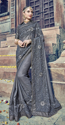 Grey Satin Georgette Saree With Grey Blouse