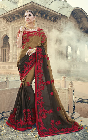 Black & Beige Red Embroiderd Saree With Blouse