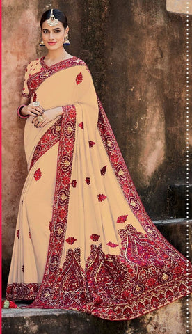 Beige,Crepe silk,Heavy designer party wear saree