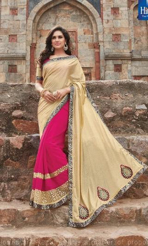 Beige , Pink,Georgette,Party wear designer saree