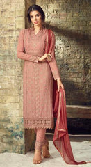 Peach Georgette Party Wear  Salwar Suit With  Dupatta