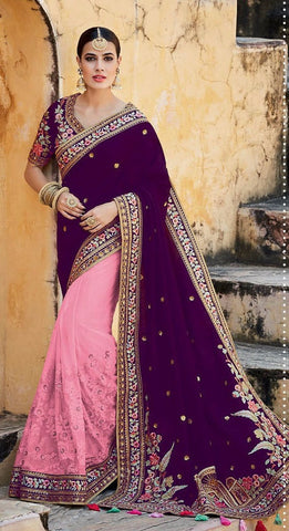Purple , Pink,Tussar silk,Heavy designer party wear saree