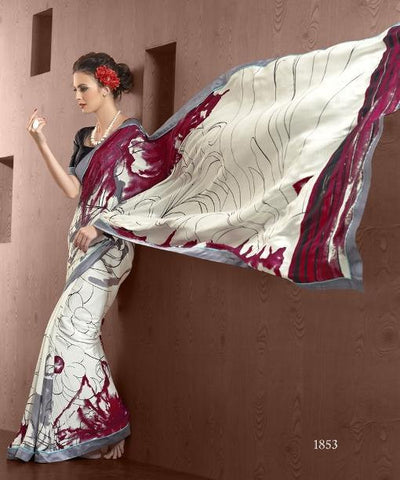 White saree with printed pallu and black blouse