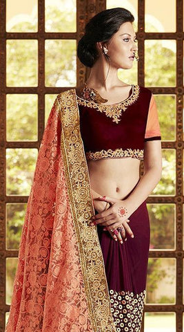Pink and maroon embroidered saree with hand work