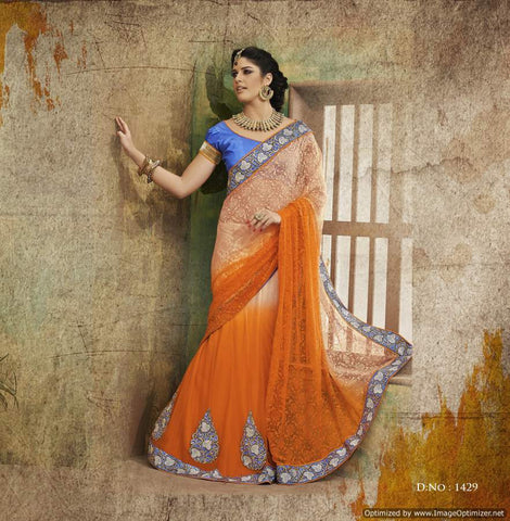 Orange Jacquard Saree with hand work and Embroidery