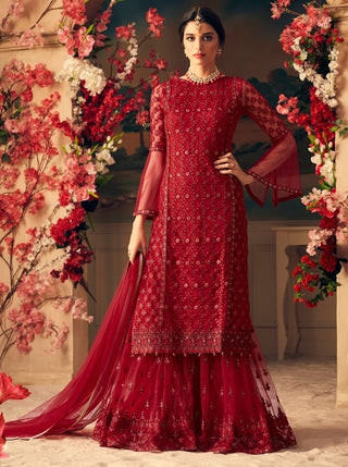 Red Net Sharara Suit With  Dupatta