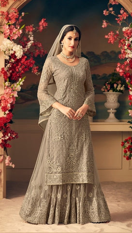 Grey Net Sharara Salwar Suit With  Dupatta