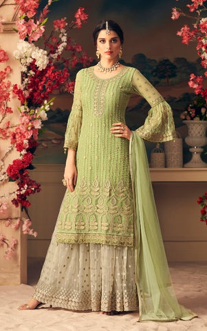 Green Net Sharara Suit With  Dupatta